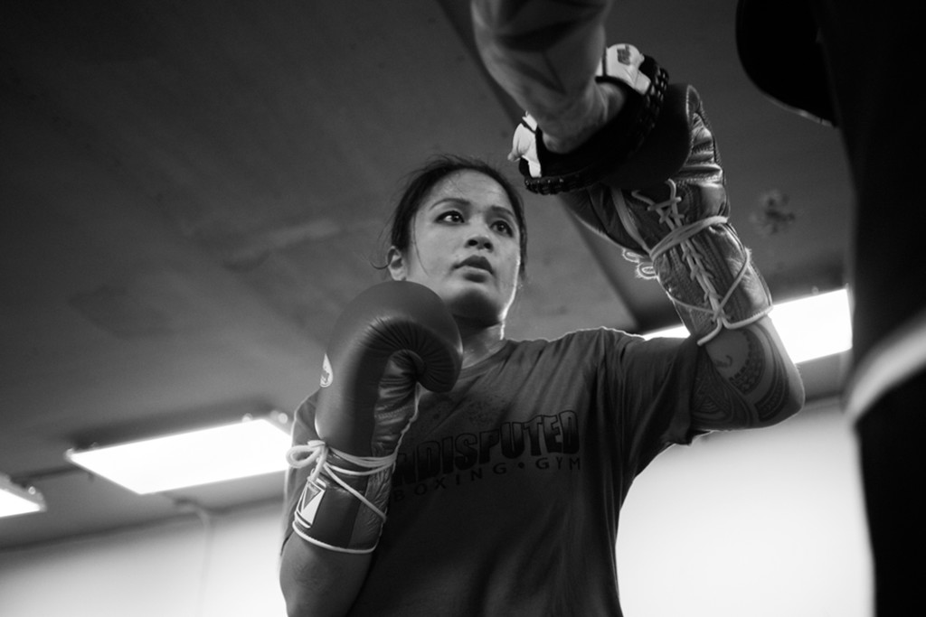 Casey shows off her new mitt-work techniques while sparring with Coach Jairo after having practiced for weeks at World Class Boxing Gym in San Francisco, CA.