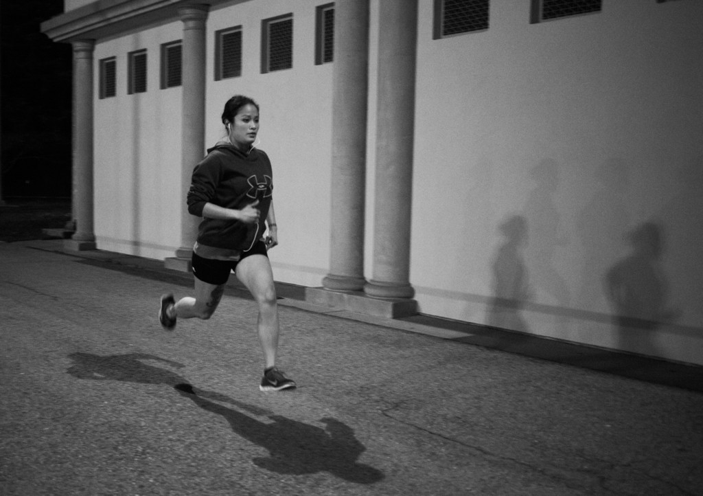Every Friday evening, Casey goes for a run around the track at Cezar Stadium in San Francisco, CA. The majority of Casey's free time outside the ring is doing other exercises to help her stay in shape for her pro-debut.