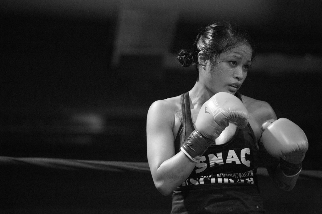 Contemplating her next move, Casey eyes up her opponent, Blanca Raymundo, during one of three rounds during her pro-debut fight in Sacramento, CA.