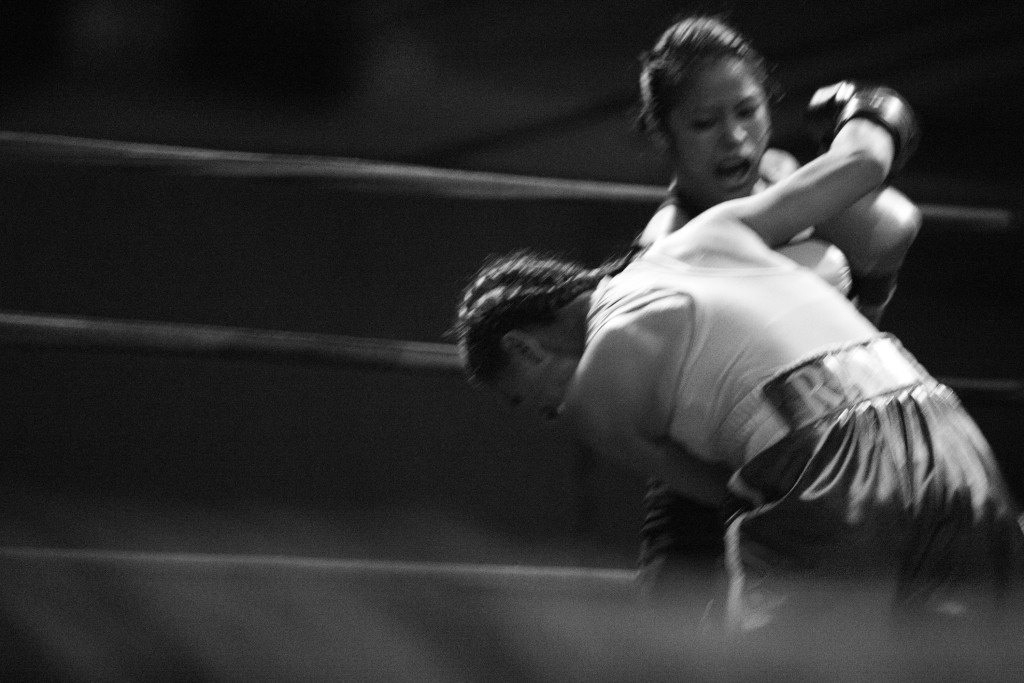 Casey delivers a staggering punch to her opponent, Blanca Raymundo, during her pro-debut fight in Sacramento, CA.